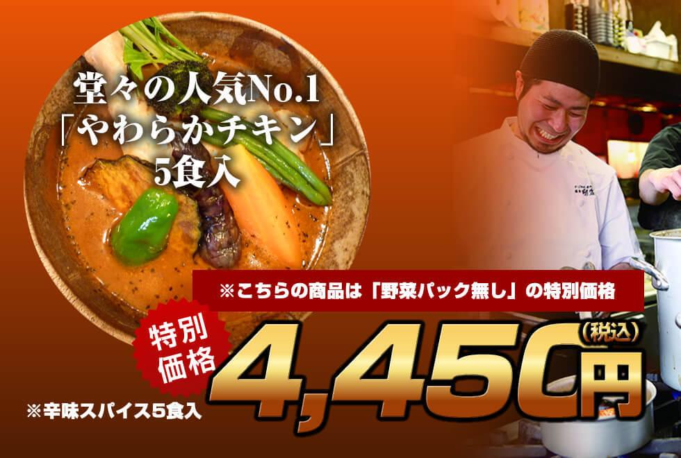 【野菜抜き特価】剛家の南国スープカレー「やわらかチキン5食入セット」