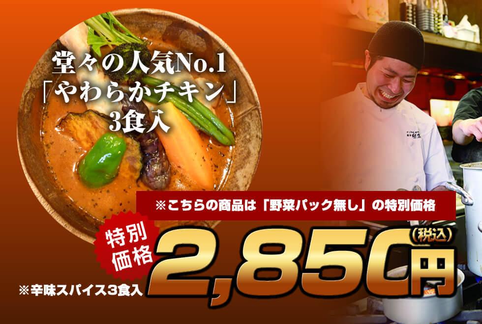 【野菜抜き特価】剛家の南国スープカレー「やわらかチキン3食入セット」